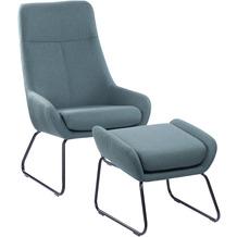 SIT &CHAIRS Sessel mit Fußhocker grün Gestell schwarz, Bezug grün