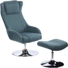 SIT &CHAIRS Sessel mit Fußhocker grün Gestell verchromt, Bezug grün