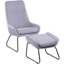 SIT &CHAIRS Sessel mit Fußhocker hellgrau Gestell schwarz, Bezug hellgrau