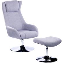 SIT &CHAIRS Sessel mit Fußhocker hellgrau Gestell verchromt, Bezug hellgrau