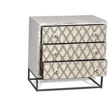 SIT MAHAL Kommode 3 Schubladen antikweiß mit beige/schwarzer Front