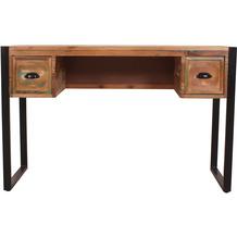 SIT Schreibtisch 120x55 cm Altholz, Metall 2 Schubladen bunt