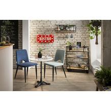 SIT THIS & THAT Bistro-Tisch rund, Gestell Metall, Platte Marmor Platte weiß, Gestell schwarz