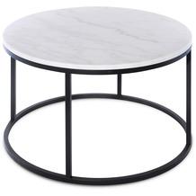 SIT THIS & THAT Couchtisch rund, Gestell Metall, Platte Marmor Platte weiß, Gestell schwarz