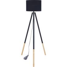 SIT THIS & THAT Stehleuchte schwarz Gestell schwarz + natur, Schirm schwarz