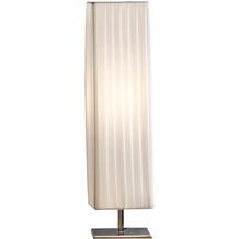 SIT THIS & THAT Tischleuchte 60 cm eckig weiß Plisseé Lampenschirm, verchromtes Metall weiß, silber