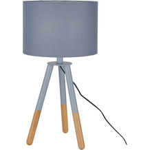 SIT THIS & THAT Tischleuchte grau Gestell grau und natur, Schirm dunkelgrau