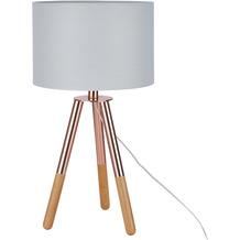 SIT THIS & THAT Tischleuchte hellgrau, Gestell kupferfarbig und natur, Schirm hellgrau