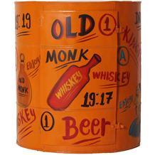 SIT THIS & THAT Wandschrank, oranges Metall mit Schriftzügen 1 Tür, aus einem recycelten Fass
