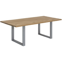 SIT Tisch 120x80 cm, Wildeiche, silbernes Gestell tables & co 07107-82