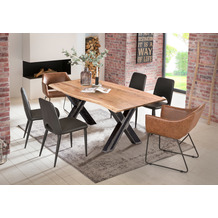 SIT Tisch 160x85 cm, Platte Akazie natur, Gestell Metall used look, klar lackiert
