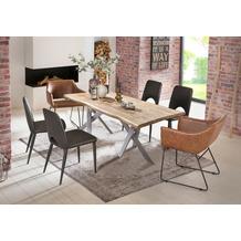 SIT Tisch 160x90 cm, Platte Mango massiv, 2 x Gestell Metall antiksilber