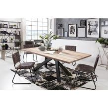 SIT Tisch, 180x100 cm, Platte Balkeneiche, Gestell Metall antikschwarz hell