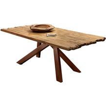 SIT Tisch, 180x100 cm, Platte recyceltes Teak, Gestell Metall antikbraun used look