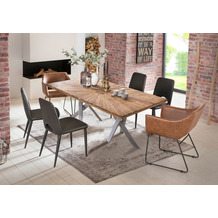 SIT Tisch 180x100 cm, Platte recyceltes Teak, Gestell Metall antiksilber