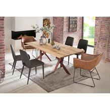 SIT Tisch 180x100 cm, Platte Wildeiche geölt, 2 x Gestell Metall antikbraun