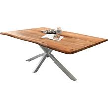 SIT Tisch, 220x100 cm, Platte Akazie massiv gebeizt, lackiert und gewachst, Gestell Metall antikschwarz mit Baumkante wie gewachsen