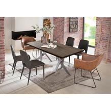 SIT Tisch 220x100 cm, Platte Balkeneiche geölt, Gestell Metall antiksilber