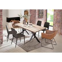 SIT Tisch 220x100 cm, Platte Balkeneiche, Gestell Metall antikschwarz