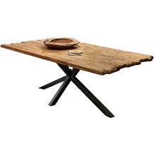 SIT Tisch, 220x100 cm, Platte recyceltes Teak, Gestell Metall antikschwarz, gekreuzte Tischbeine
