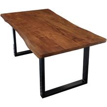 SIT TISCHE & BÄNKE Tisch 120 x 80 cm, Platte 26 mm, nußbaumfarbig, mit Baumkante wie gewachsen Platte nussbaumfarbig, Gestell schwarz lackiert
