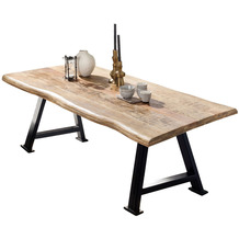 SIT TISCHE & BÄNKE Tisch, 160x90 cm, Platte Mango massiv, A-Gestell Metall antikschwarz