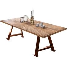 SIT TISCHE & BÄNKE Tisch, 180x100 cm, Platte recyceltes Teak, A-Gestell Metall antikbraun