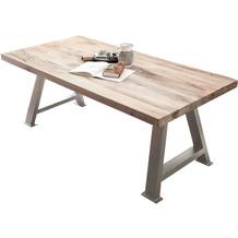 SIT TISCHE & BÄNKE Tisch 180x100 cm Platte white wash, Gestell antiksilbern