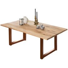 SIT TISCHE & BÄNKE Tisch, 180x100 cm, Platte Wildeiche geölt, Gestell Metall antikbraun