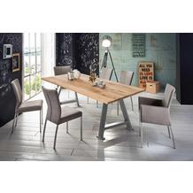 SIT TISCHE & BÄNKE Tisch, 180x100 cm, Platte Wildeiche geölt, A-Gestell Metall antiksilber