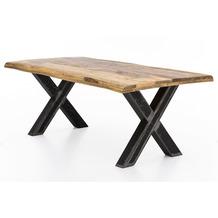 SIT TISCHE & BÄNKE Tisch 180x90 cm Abstand zwischen den Beinen 110 cm Platte natur, Gestell Roheisen used look, klar lackiert