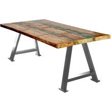 SIT TISCHE & BÄNKE Tisch 180x90 cm  Platte bunt, Gestell antiksilbern
