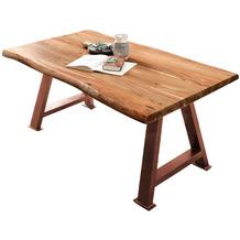 SIT TISCHE & BÄNKE Tisch 180x90 cm Platte natur, A-Gestell antikbraun
