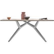 SIT TISCHE & BÄNKE Tisch 180x90 cm  Platte white wash, Gestell antiksilbern