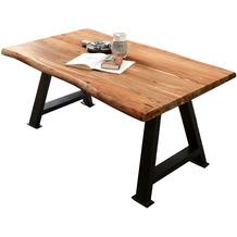 SIT TISCHE & BÄNKE Tisch 200x100 cm Platte natur, A-Gestell antikschwarz