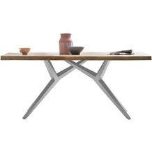 SIT TISCHE & BÄNKE Tisch 200x100 cm Platte natur, Gestell antiksilbern, dicke Platte