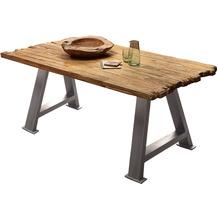 SIT TISCHE & BÄNKE Tisch 200x100 cm Platte natur, A-Gestell antiksilbern used look
