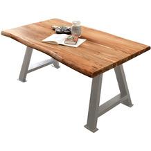 SIT TISCHE & BÄNKE Tisch 200x100 cm Platte natur, A-Gestell antiksilbern