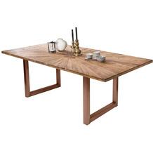 SIT TISCHE & BÄNKE Tisch, 200x100 cm, Platte recyceltes Teak, Gestell Metall antikbraun