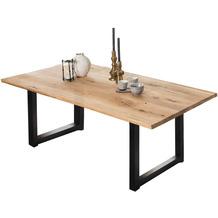SIT TISCHE & BÄNKE Tisch, 200x100 cm, Platte Wildeiche geölt, Gestell Metall antikschwarz
