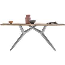 SIT TISCHE & BÄNKE Tisch, 200x100 cm, Platte Wildeiche geölt, M-Gestell Metall antiksilbern