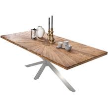 SIT TISCHE & BÄNKE Tisch 200x100  Platte natur, Gestell antiksilbern