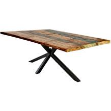 SIT TISCHE & BÄNKE Tisch 220x100 cm Platte bunt, Gestell antikschwarz