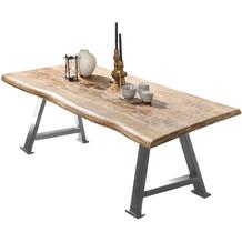 SIT TISCHE & BÄNKE Tisch, 220x100 cm, Platte Mango massiv, A-Gestell Metall antiksilber