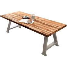 SIT TISCHE & BÄNKE Tisch 220x100 cm Platte natur, A-Gestell antiksilbern