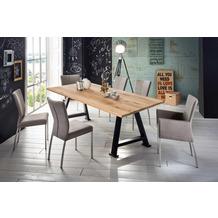 SIT TISCHE & BÄNKE Tisch, 220x100 cm, Platte Wildeiche geölt, A-Gestell Metall antikschwarz