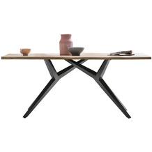 SIT TISCHE & BÄNKE Tisch, 220x100 cm, Platte Wildeiche geölt, M-Gestell Metall antikschwarz