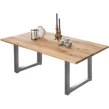 SIT TISCHE & BÄNKE Tisch, 220x100 cm, Platte Wildeiche geölt, Gestell Metall antiksilber