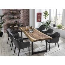 SIT TISCHE & BÄNKE Tisch 220x90 cm, Platte Suarholz 80 mm, Gestell schwarz mit Baumkante wie gewachsen