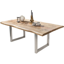 SIT TISCHE & BÄNKE Tisch, 240x100 cm, Platte Mango massiv, Gestell Metall antiksilber 15494-40